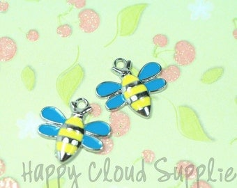 Bumble Bee Enamel Charms... 4pcs...