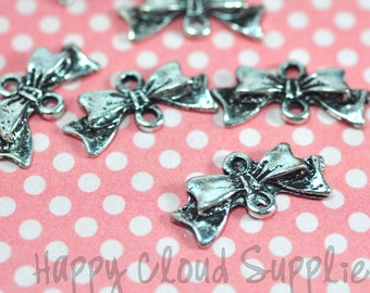Antique Silver Butterfly Bow Links... 10pcs