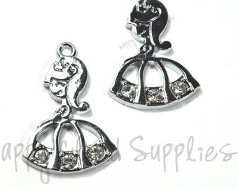 Princess Silver Rhinestone Charms... 2pcs