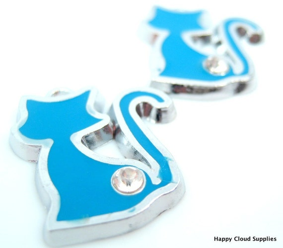 Destash Sale... Blue Kitty Silhouette Enamel Charms with Rhinestones... 5pcs(last set)
