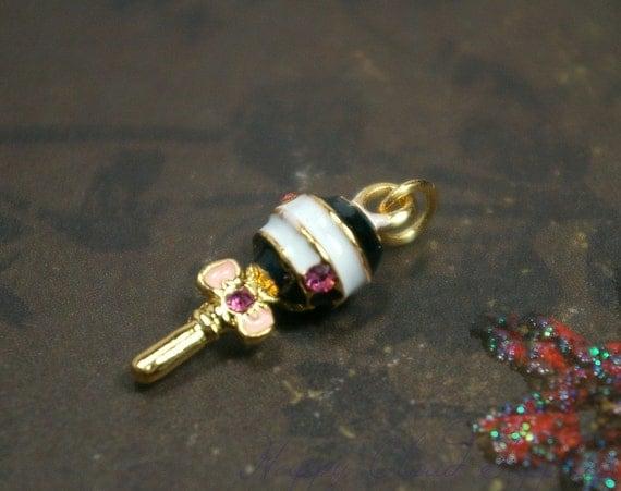 Destash Sale... Sweet Chupa Chups Lollipop Enamel Charm with Rhinestones... 4pcs