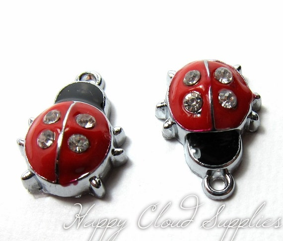 Red Lady Bug Silver and Enamel Charms with Rhinestones... 4pcs