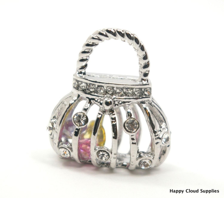 bling bling 3d purse rhinestone charm