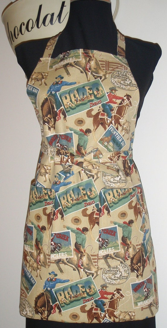 Boys Apron Rodeo Cowboys reversible with pockets Sale Priced