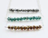 Modern Bar Necklace - Silver Discs Beaded Necklace Goldenrod Teal Gray Everyday Jewelry