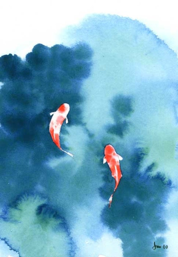 Items similar to koi pond watercolor 5x7 print on etsy for Simple fish pond