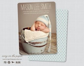 Mason Star Birth Announcement - Digital or Printed