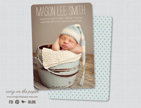 Mason Star Birth Announcement - Digital or Printed