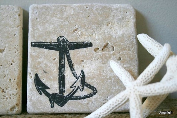 Under The Sea- Offset Nautical Tumbled Marble Coasters