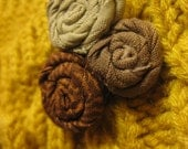 Brown and Tan Fabric Flower Brooch