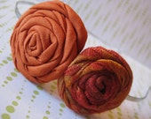 Orange and Multicolored fabric flower headband