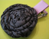Shades of Gray Fabric Flower on a Purple Alligator Clip