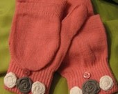 SALE Pink Winter Mittens with Gray and White Fabric Flowers- Little Gal