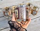 Vintage Roaring Twenties Barware Old Hollywood Regency Set of Eight Gold Rimmed Gatsby Cocktail Bachelor Brandy Bourbon Whiskey Glasses