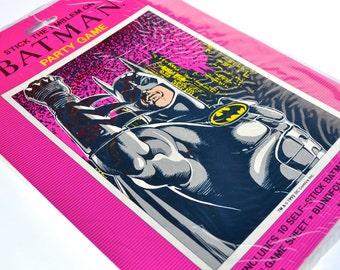 Retro Batman Party Game DC Comics Stick the Emblem on Batman Gotham City Superhero Boys Birthday Comic Con Marvel Decor Poster Mask Stickers
