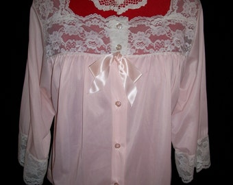 Vintage  Pale  Pink Nylon and Lace Bed Jacket