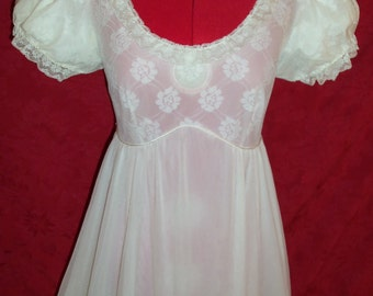 Vintage 1950s Chiffon and Lace Nightgown by Lady Love