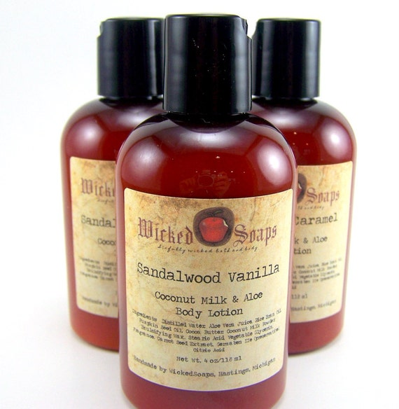 Sandalwood Vanilla Body Lotion - Coconut Milk and Aloe Body Lotion with Cocoa Butter and Pumpkin Seed Oil - Vegan Friendly
