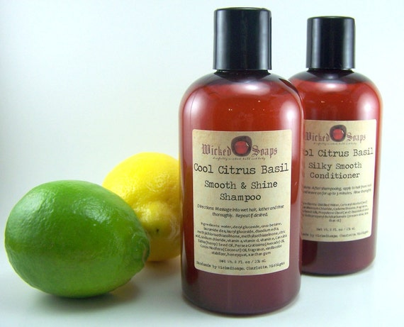 SALE - Cool Citrus Basil Shampoo - Sulfate Free Shampoo with Avocado and Hemp Oil and Honeyquat
