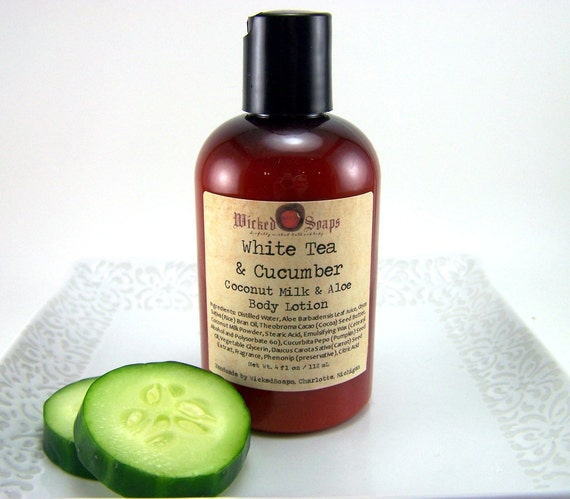 White Tea and Cucumber Body Lotion - Coconut Milk and Aloe Body Lotion with Cocoa Butter and Pumpkin Seed Oil - Vegan Friendly