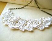 ON SALE Lace Necklace - bridesmaids, bib, statement, antique brass, flower, garden, wedding