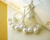 Chandelier Earrings - pearl, bridal, wedding, silver, boho, non traditional, tagt team