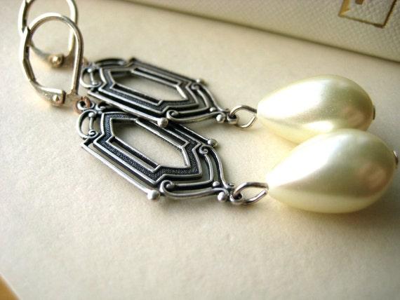 Art Deco Bridal Earrings - pearl, vintage-inspired, vintage style, wedding jewelry