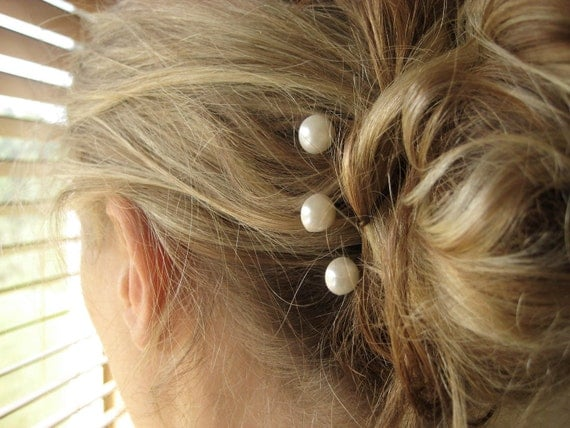 Pearl Hairpins - bobby pins, bridal, wedding, trio, antique brass, silver, ivory, simple