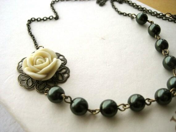 Rose Bridesmaid Necklace - ivory, green, flower, pearls, vintage inspired, nature, bride, wedding, tagt team