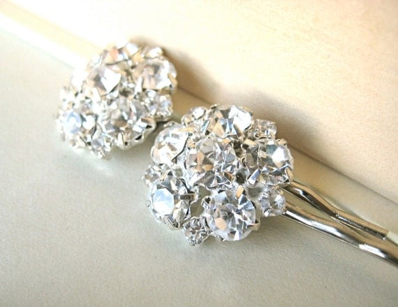 Bridal Hair Pins - rhinestone, wedding, bridesmaid, bobby pins, updo, silver, cluster, tagt team
