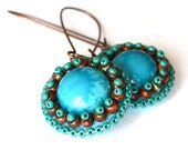 Beaded earrings Blue turquoise glass embroidered earrings