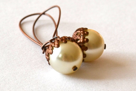 Acorn earrings - Pearly glass bead acorn cup white earrings