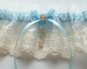 Wedding Garter and Matching Lace Toss with Blue Ribbon Bow and Rhinestone Initials - The SHEENA Garter