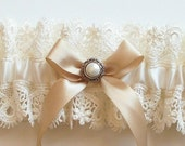 Wedding Garter and Satin Band Toss with Vintage Inspired Pearl on Champagne Bow - The AMY Garter