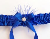 Royal Blue Garter with Feather and Swarovski Crystal Centering, with Satin Band Toss - The RENEE Garter