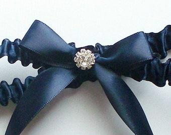 Navy Blue Satin Ribbon Garter with Bow and Swarovski Crystal Centering - The JACKIE Garter