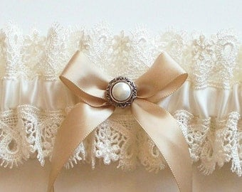 Lace Garter, Wedding Garter with Vintage Inspired Pearl on Champagne Bow - The AMY Garter