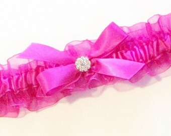 Hot Pink Garter, Fuchsia Garter with Bow and Rhinestone Center  - The MARIANA Garter