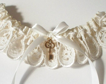 Wedding Garter with Key Charm in Ivory Venise Lace and Satin Band Toss - Other Charms Available - The NATASHA Garter