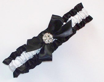 Black and White Wedding Garter with Bow and Rhinestone Centering, Incl. Matching Toss