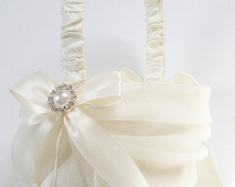 Silk Flower Girl Basket with Tulle Sash, Ivory Bows, Pearl and Crystal Center - The MELINDA Basket