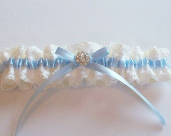 Wedding Garter with White Raschel Lace and Ivory Ribbon, and Blue Ribbon Detail - The TRICIA Garter