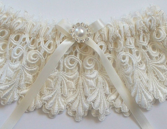 Wedding Garter Set with Rhinestone and Pearl Finding on a Satin Ribbon Bow - The Ivory JILLIAN Set