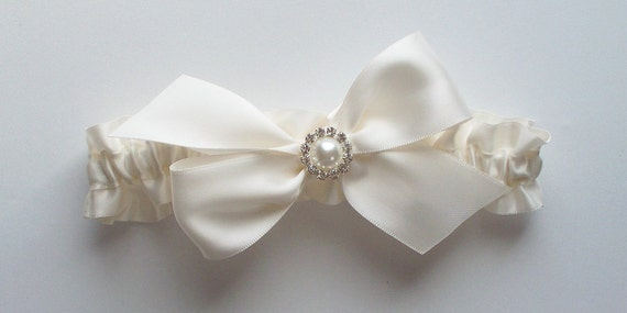 Ivory Satin Garter and TOSS GARTER with Bow and Rhinestone/Pearl Finding - The KAYLA Garter