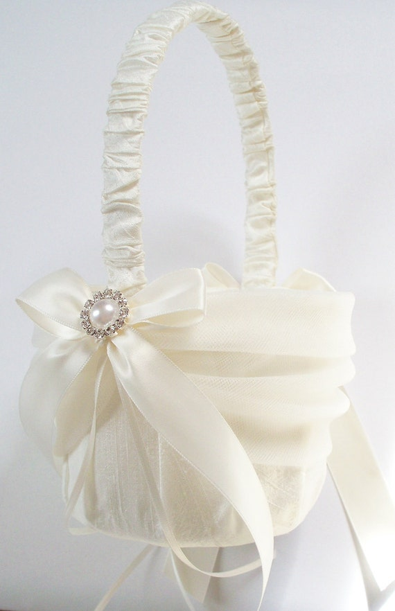 Silk Flower Girl Basket With Tulle Sash Ivory Bows By
