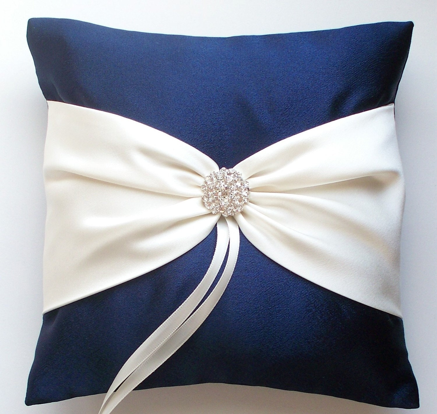 Wedding Ring Pillow in Navy with Ivory Sash Cinched with