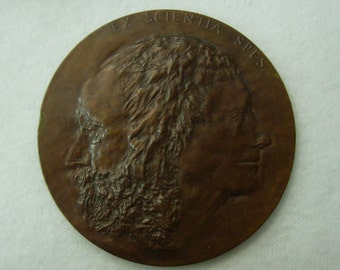Vintage Bronze Medal DaVinci New York Public Library Anniversary 1961