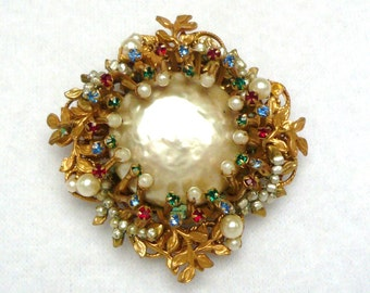 Miriam Haskell Signed Baroque Pearl, Seedpearl, Multicolor Gem Brooch