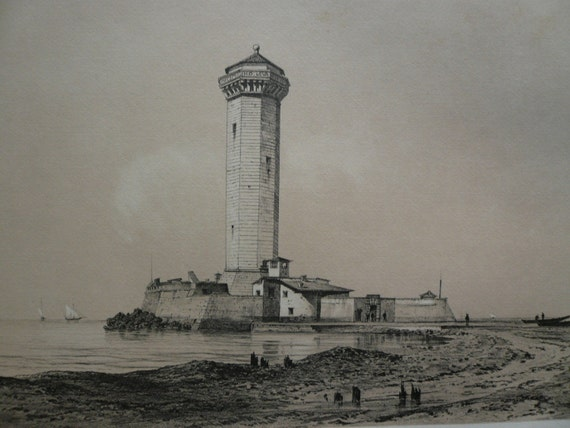 Large Lighthouse Italy Lithograph, Vintage French Sepia Folio Engraving of Italian Architecture and Landscape