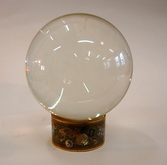Stunning Antique Crystal Ball on Chinese Cloisonne Stand